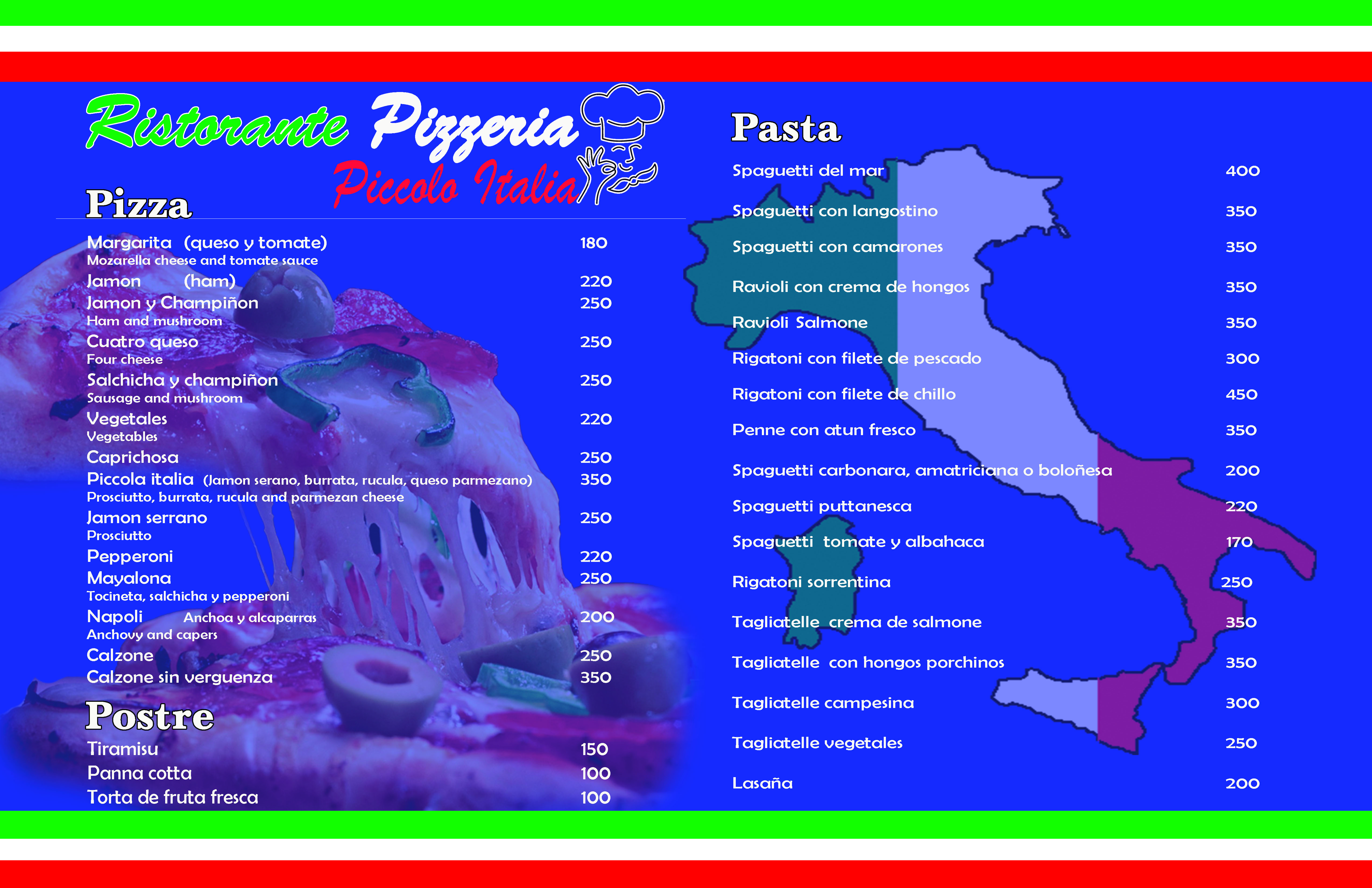 Menu Ristorante pizzeria piccola italia